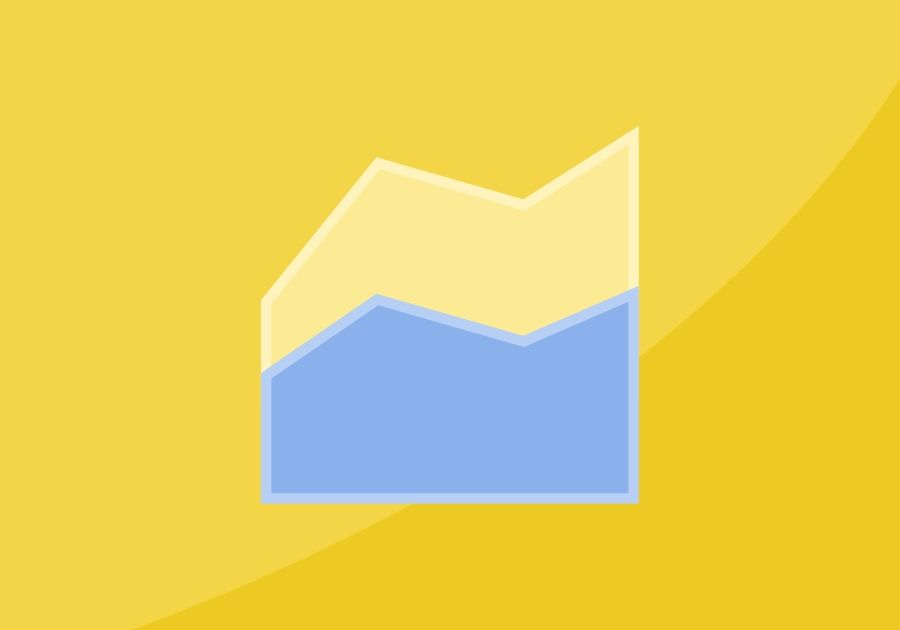 Graph icon on top of yellow background with a swoosh in the lower right