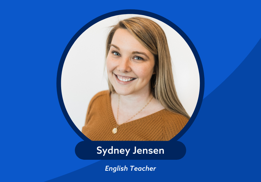 Photo of Sydney Jensen English Teacher on top of blue background