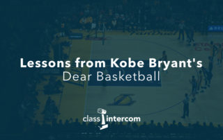 Lessons from Kobe Bryant's Dear Basketball Class Intercom logo on top of blue with a lakers gym floor in the background