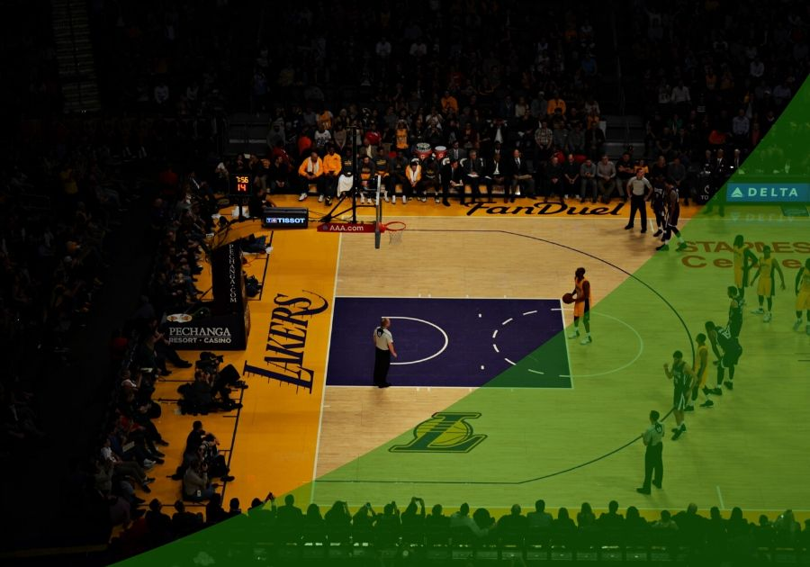 Photo with a lakers gym floor in the background and green swoosh on top