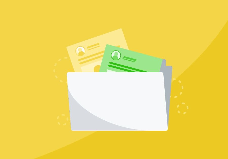 Illustration of a folder with files coming out of the top on a yellow background with a swoosh