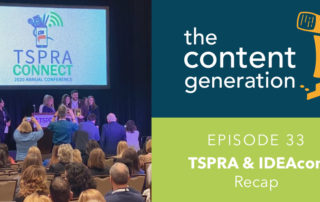 Photo of TSPRA conference The Content Generation with intercom logo in the top right Episode 33 TSPRA & IDEAcon Recap text bottom right