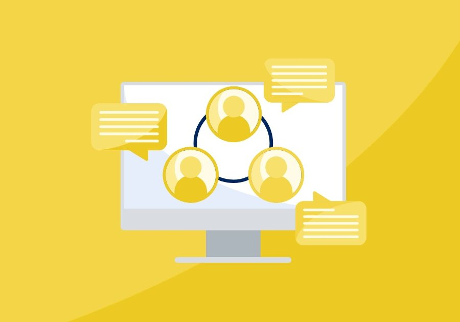 Illustration of computer with three people icons in a circle with chat boxes next to each person on top of a yellow background
