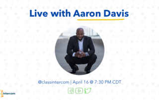 Live with Aaron Davis with a photo of him and the date with the social icons below