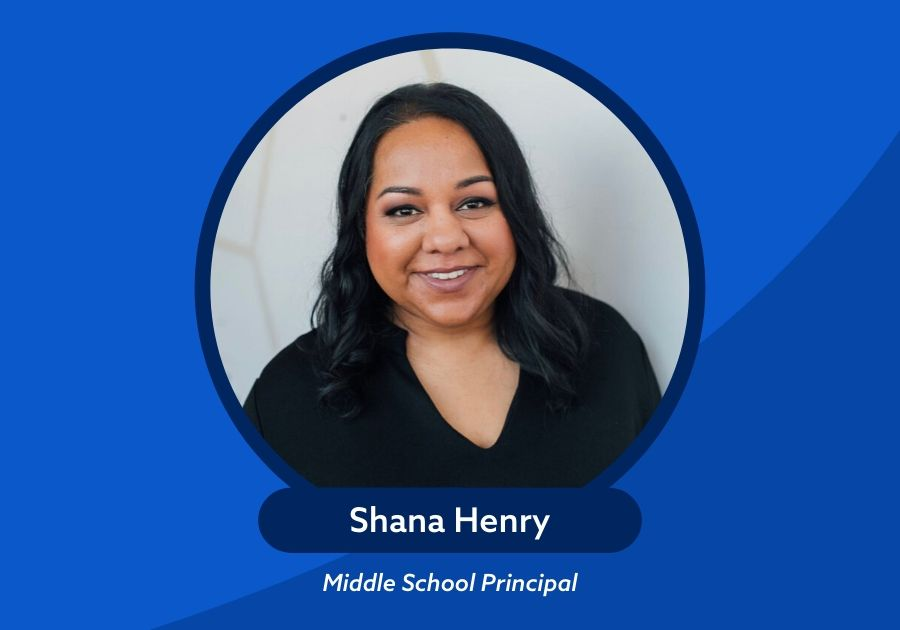 Shana Henry with title Middle School Principal on top of green background with swoosh