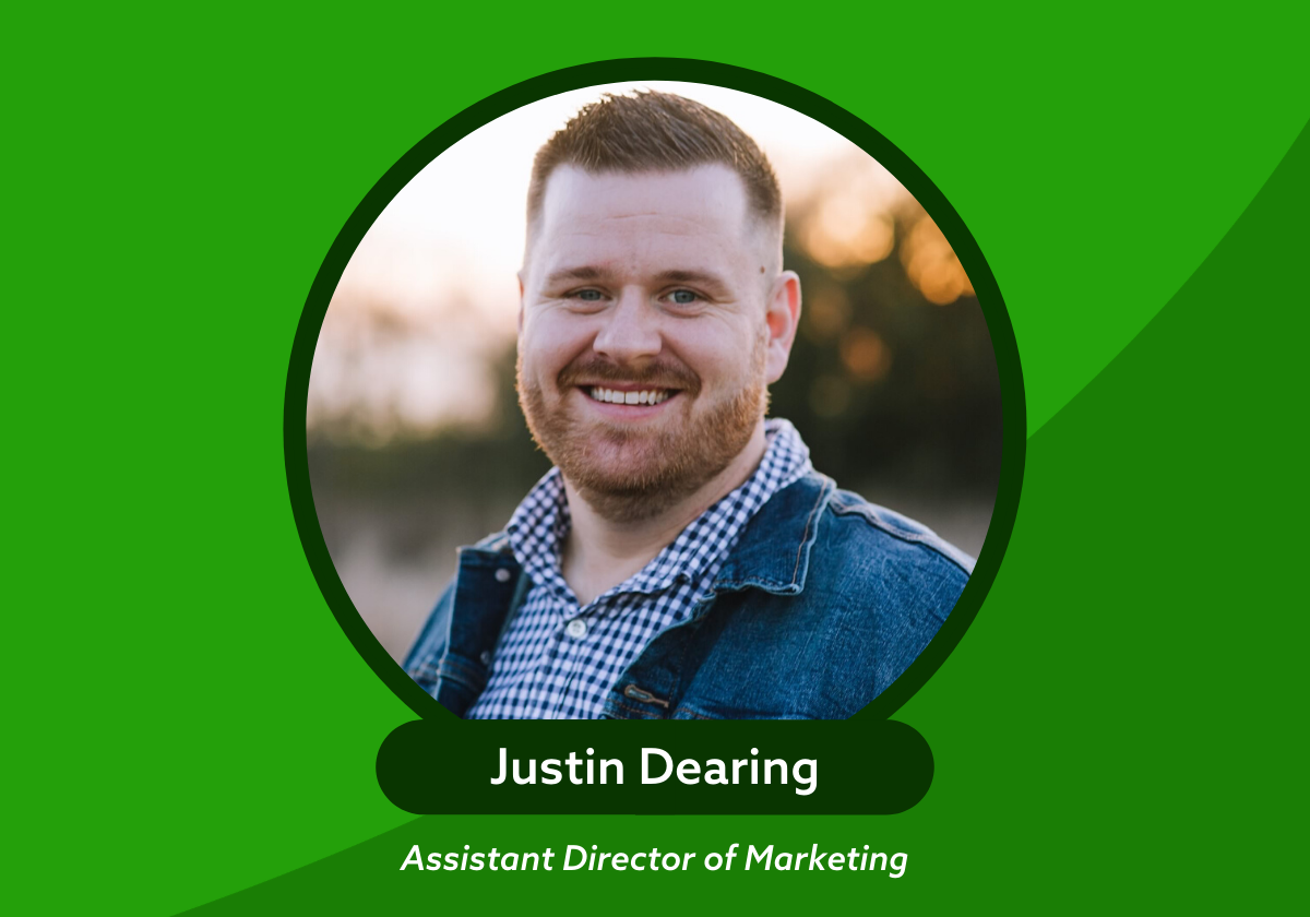 Justin Dearing photo and name Assistant Director of Marketing with a green background
