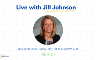 Live with Jill Johnson with a photo of her and @classintercom with the date and time with social media icons on top of a white background