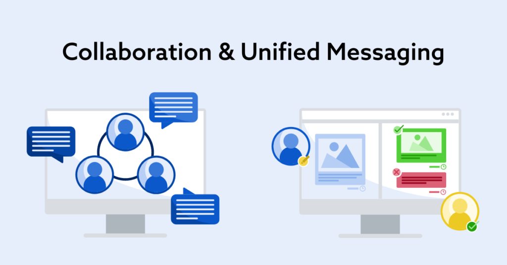 Collaboration & Unified Messaging title at the top with a light blue background on image with two graphics side by side of computer monitors showing collaboration and an approval process