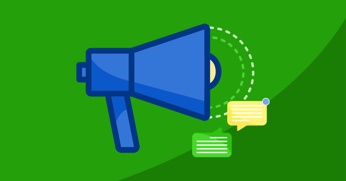 Green background with blue megaphone
